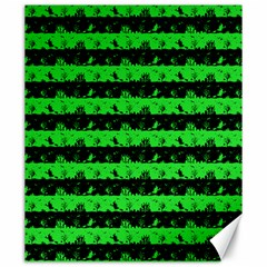 Monster Green And Black Halloween Nightmare Stripes  Canvas 20  X 24  by PodArtist
