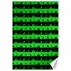 Monster Green And Black Halloween Nightmare Stripes  Canvas 24  X 36  by PodArtist