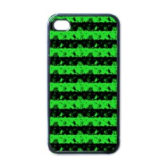 Monster Green And Black Halloween Nightmare Stripes  Apple Iphone 4 Case (black) by PodArtist