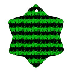Monster Green And Black Halloween Nightmare Stripes  Snowflake Ornament (two Sides) by PodArtist