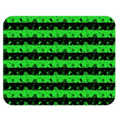 Monster Green And Black Halloween Nightmare Stripes  Double Sided Flano Blanket (medium)  by PodArtist