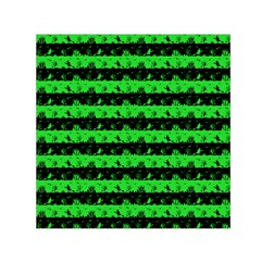 Monster Green And Black Halloween Nightmare Stripes  Small Satin Scarf (square) by PodArtist