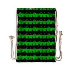 Monster Green And Black Halloween Nightmare Stripes  Drawstring Bag (small) by PodArtist