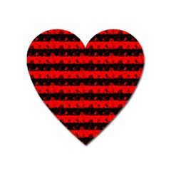 Red Devil And Black Halloween Nightmare Stripes  Heart Magnet by PodArtist