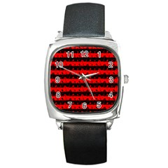 Red Devil And Black Halloween Nightmare Stripes  Square Metal Watch by PodArtist