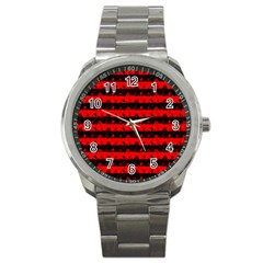 Red Devil And Black Halloween Nightmare Stripes  Sport Metal Watch by PodArtist