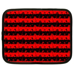 Red Devil And Black Halloween Nightmare Stripes  Netbook Case (large) by PodArtist