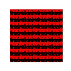 Red Devil And Black Halloween Nightmare Stripes  Small Satin Scarf (square) by PodArtist
