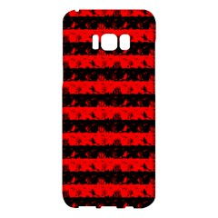 Red Devil And Black Halloween Nightmare Stripes  Samsung Galaxy S8 Plus Hardshell Case  by PodArtist