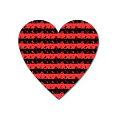 Donated Kidney Pink And Black Halloween Nightmare Stripes  Heart Magnet by PodArtist