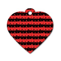 Donated Kidney Pink And Black Halloween Nightmare Stripes  Dog Tag Heart (one Side) by PodArtist