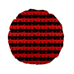 Donated Kidney Pink And Black Halloween Nightmare Stripes  Standard 15  Premium Flano Round Cushions by PodArtist