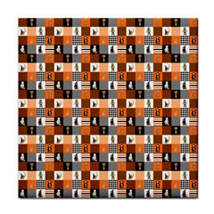Witches, Monsters And Ghosts Halloween Orange And Black Patchwork Quilt Squares Tile Coasters by PodArtist