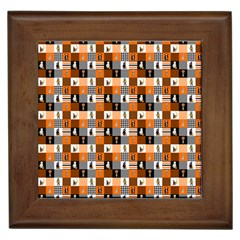 Witches, Monsters And Ghosts Halloween Orange And Black Patchwork Quilt Squares Framed Tiles by PodArtist
