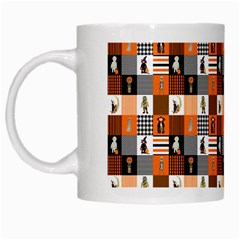 Witches, Monsters And Ghosts Halloween Orange And Black Patchwork Quilt Squares White Mugs by PodArtist