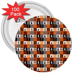 Witches, Monsters And Ghosts Halloween Orange And Black Patchwork Quilt Squares 3  Buttons (100 Pack)  by PodArtist