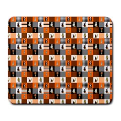 Witches, Monsters And Ghosts Halloween Orange And Black Patchwork Quilt Squares Large Mousepads by PodArtist