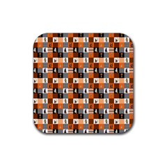 Witches, Monsters And Ghosts Halloween Orange And Black Patchwork Quilt Squares Rubber Square Coaster (4 Pack)  by PodArtist