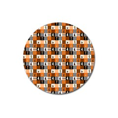 Witches, Monsters And Ghosts Halloween Orange And Black Patchwork Quilt Squares Magnet 3  (round) by PodArtist