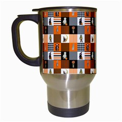 Witches, Monsters And Ghosts Halloween Orange And Black Patchwork Quilt Squares Travel Mugs (white) by PodArtist
