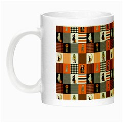Witches, Monsters And Ghosts Halloween Orange And Black Patchwork Quilt Squares Night Luminous Mugs by PodArtist