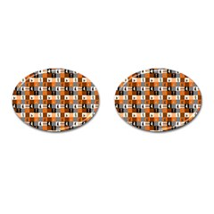 Witches, Monsters And Ghosts Halloween Orange And Black Patchwork Quilt Squares Cufflinks (oval) by PodArtist