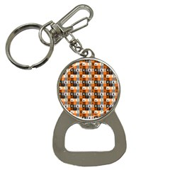 Witches, Monsters And Ghosts Halloween Orange And Black Patchwork Quilt Squares Bottle Opener Key Chains by PodArtist