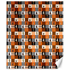 Witches, Monsters And Ghosts Halloween Orange And Black Patchwork Quilt Squares Canvas 8  X 10  by PodArtist