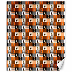 Witches, Monsters And Ghosts Halloween Orange And Black Patchwork Quilt Squares Canvas 20  X 24  by PodArtist