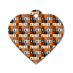 Witches, Monsters And Ghosts Halloween Orange And Black Patchwork Quilt Squares Dog Tag Heart (one Side) by PodArtist
