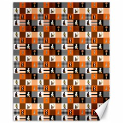 Witches, Monsters And Ghosts Halloween Orange And Black Patchwork Quilt Squares Canvas 11  X 14  by PodArtist