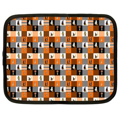 Witches, Monsters And Ghosts Halloween Orange And Black Patchwork Quilt Squares Netbook Case (large) by PodArtist