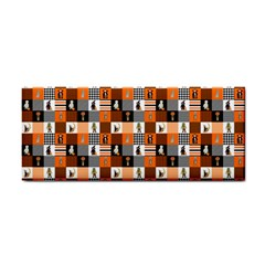 Witches, Monsters And Ghosts Halloween Orange And Black Patchwork Quilt Squares Hand Towel by PodArtist
