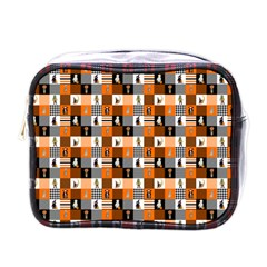 Witches, Monsters And Ghosts Halloween Orange And Black Patchwork Quilt Squares Mini Toiletries Bag (one Side) by PodArtist