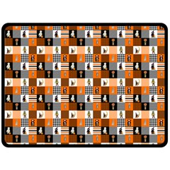 Witches, Monsters And Ghosts Halloween Orange And Black Patchwork Quilt Squares Fleece Blanket (large)  by PodArtist