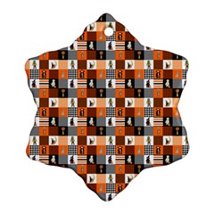 Witches, Monsters And Ghosts Halloween Orange And Black Patchwork Quilt Squares Ornament (snowflake) by PodArtist