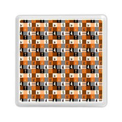 Witches, Monsters And Ghosts Halloween Orange And Black Patchwork Quilt Squares Memory Card Reader (square) by PodArtist