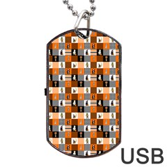 Witches, Monsters And Ghosts Halloween Orange And Black Patchwork Quilt Squares Dog Tag Usb Flash (one Side) by PodArtist
