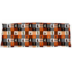 Witches, Monsters And Ghosts Halloween Orange And Black Patchwork Quilt Squares Body Pillow Case (dakimakura) by PodArtist