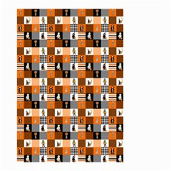 Witches, Monsters And Ghosts Halloween Orange And Black Patchwork Quilt Squares Small Garden Flag (two Sides) by PodArtist
