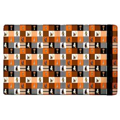 Witches, Monsters And Ghosts Halloween Orange And Black Patchwork Quilt Squares Apple Ipad 2 Flip Case by PodArtist