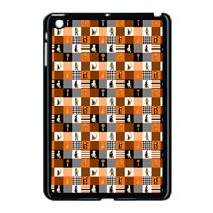Witches, Monsters And Ghosts Halloween Orange And Black Patchwork Quilt Squares Apple Ipad Mini Case (black) by PodArtist