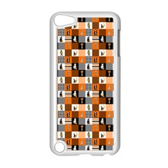 Witches, Monsters And Ghosts Halloween Orange And Black Patchwork Quilt Squares Apple Ipod Touch 5 Case (white) by PodArtist