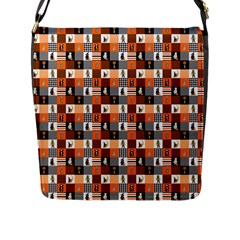 Witches, Monsters And Ghosts Halloween Orange And Black Patchwork Quilt Squares Flap Closure Messenger Bag (l) by PodArtist