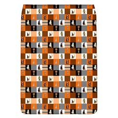 Witches, Monsters And Ghosts Halloween Orange And Black Patchwork Quilt Squares Removable Flap Cover (l) by PodArtist