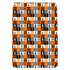 Witches, Monsters And Ghosts Halloween Orange And Black Patchwork Quilt Squares Removable Flap Cover (s) by PodArtist
