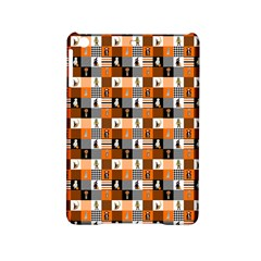 Witches, Monsters And Ghosts Halloween Orange And Black Patchwork Quilt Squares Ipad Mini 2 Hardshell Cases by PodArtist