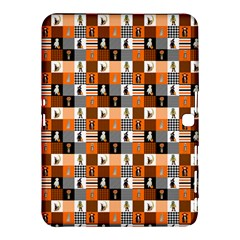 Witches, Monsters And Ghosts Halloween Orange And Black Patchwork Quilt Squares Samsung Galaxy Tab 4 (10 1 ) Hardshell Case  by PodArtist