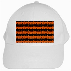 Dark Pumpkin Orange And Black Halloween Nightmare Stripes  White Cap by PodArtist