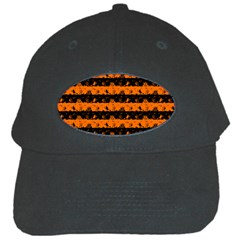 Dark Pumpkin Orange And Black Halloween Nightmare Stripes  Black Cap by PodArtist